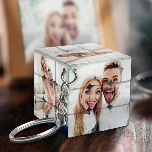 Custom Multiphoto Rubik's Cube Keychain Couples