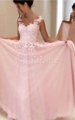 Robe de bal intemporel de col en v en dentelle avec zip avec manche courte – GoodRobe