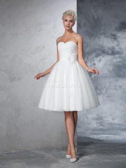 Robe de mariée bref naturel au niveau de genou fermeutre eclair a-ligne – GoodRobe