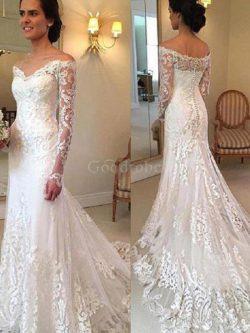 Robe de mariée brillant de sirène avec manche longue d'epaule ecrite naturel – GoodRobe