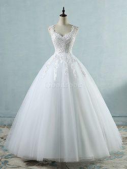 Robe de mariée cordon avec sans manches de mode de bal éblouissant v encolure – GoodRobe