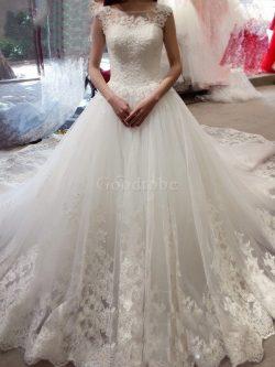 Robe de mariée cordon de traîne moyenne avec sans manches col en bateau en tulle – GoodRobe