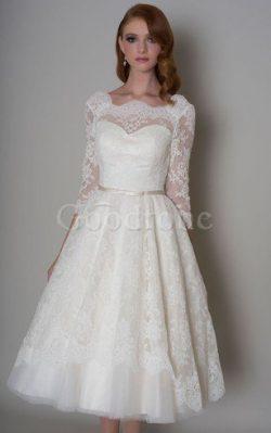 Robe de mariée delicat plissage a-ligne en 1/2 manche en tulle – GoodRobe