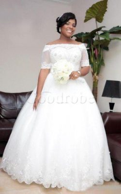 Robe de mariée delicat textile en tulle en 1/2 manche en dentelle manche nulle – GoodRobe