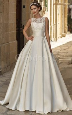 Robe de mariée derniere tendance plissé en satin de traîne moyenne manche nulle – GoodRobe
