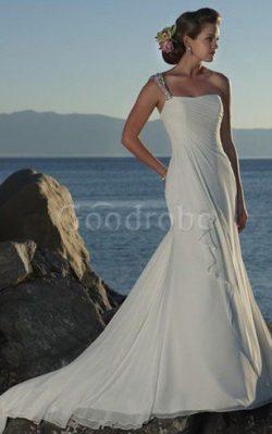 Robe de mariée d'épaule asymétrique avec perle de traîne courte manche nulle a plage ̵ ...