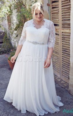 Robe de mariée facile intemporel plissage en grandes tailles jusqu'au sol – GoodRobe