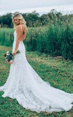 Robe de mariée femme branché facile a plage bandouliere spaghetti avec sans manches – GoodRobe