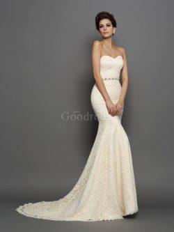 Robe de mariée longue de traîne mi-longue avec nœud à boucle de col en cœur en satin – Goo ...