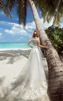 Robe de mariée longue romantique avec manche courte ceinture en étoffe cordon – GoodRobe