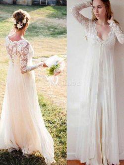 Robe de mariée longueur au ras du sol v encolure ceinture haut spécial naturel – GoodRobe
