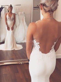 Robe de mariée manche nulle de traîne moyenne de sirène col u profond en satin – GoodRobe