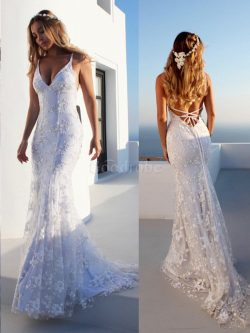 Robe de mariée manche nulle incroyable bretelles spaghetti de traîne moyenne naturel – Goo ...