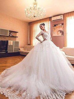 Robe de mariée naturel de col en v avec manche longue de traîne moyenne de mode de bal – G ...