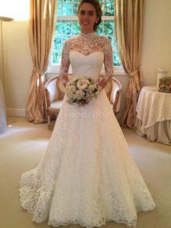 Robe de mariée naturel de mode de bal avec manche longue elevé de traîne moyenne – GoodRobe