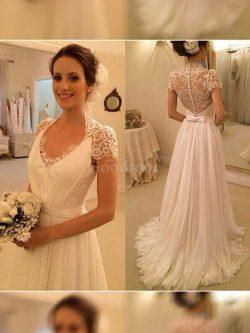 Robe de mariée naturel de princesse de traîne courte v encolure avec sans manches – GoodRobe