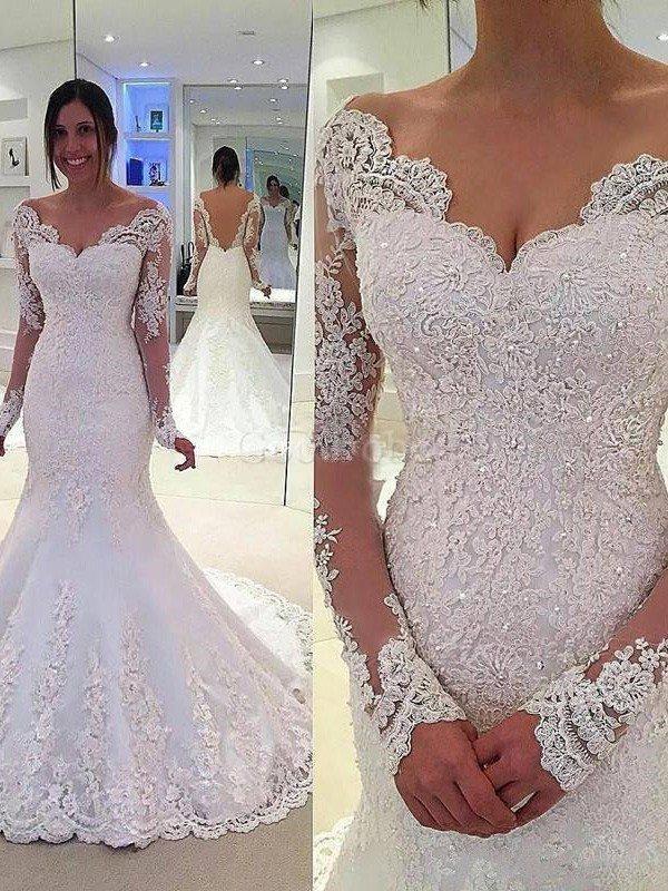 Robe de mariée naturel de sirène de col en v de traîne moyenne textile en tulle – GoodRobe