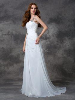 Robe de mariée naturel d'épaule asymétrique avec perle a-ligne en chiffon – GoodRobe