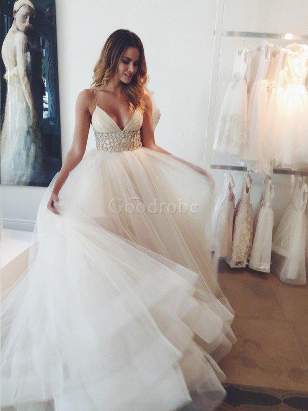 Robe de mariée naturel en tulle avec cristal de traîne moyenne manche nulle – GoodRobe