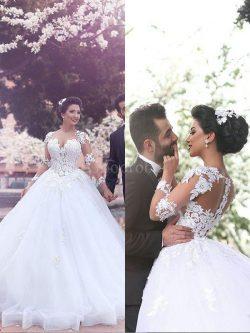 Robe de mariée naturel en tulle col en forme de cœur de mode de bal avec manche longue – G ...