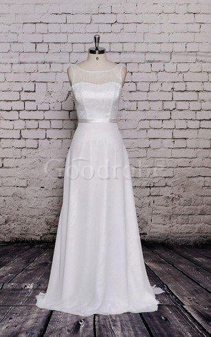 Robe de mariée naturel manche nulle a-ligne avec chiffon ceinture – GoodRobe