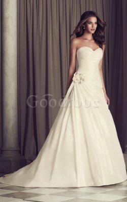 Robe de mariée naturel romantique fermeutre eclair avec fleurs de traîne courte – GoodRobe