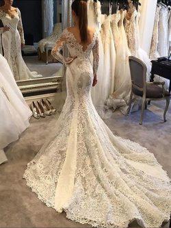 Robe de mariée naturel v encolure avec manche longue de sirène de traîne moyenne – GoodRobe