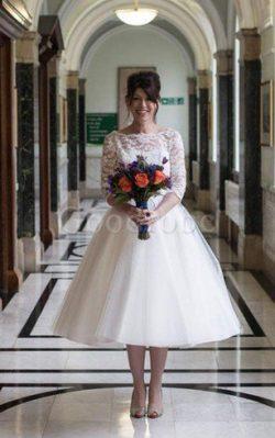 Robe de mariée plissage intemporel facile avec manche 1/2 avec décoration dentelle – GoodRobe