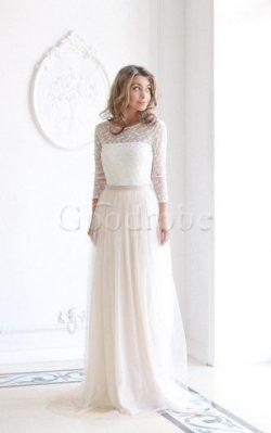 Robe de mariée plissage sage longue col u profond avec décoration dentelle – GoodRobe