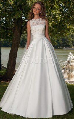 Robe de mariée romantique ligne a avec ruban de traîne courte de col entaillé – GoodRobe