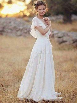 Robe de mariée ruché en chiffon ligne a de princesse belle – GoodRobe