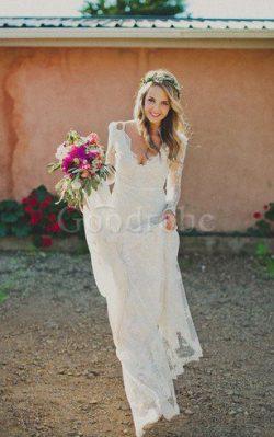 Robe de mariée sexy classique textile en tulle trou de serrure avec manche longue – GoodRobe