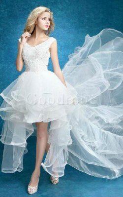 Robe de mariée sexy de traîne moyenne v encolure manche nulle en dentelle – GoodRobe