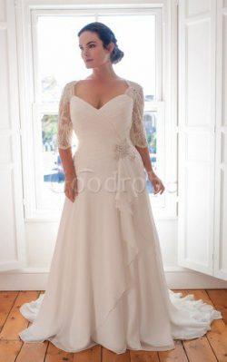 Robe de mariée simple avec décoration dentelle avec fronce lache de traîne courte – GoodRobe