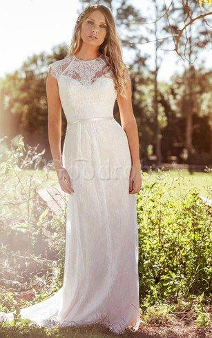 Robe de mariée simple de col haut jusqu'au sol decoration en fleur maillot – GoodRobe