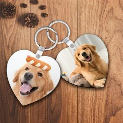 Custom Photo Keychain Heart Shape For Pet Lover