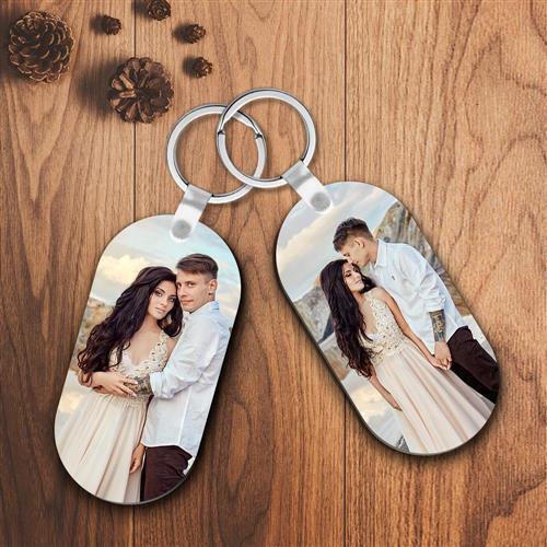 Custom Photo Keychain Oval Shape