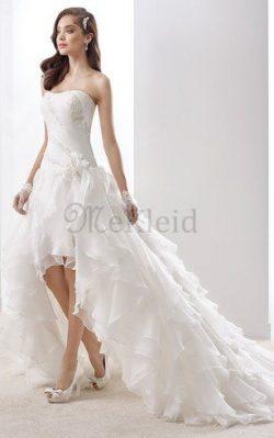 Trägerlos Chiffon Natürliche Taile Elegantes Brautkleid mit Mehrschichtigen Rüsche – MeKle ...