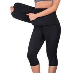 Women Sauna Yoga Pants Capris with Waist Trainer Belt