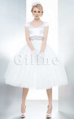 Abito da Sposa con Fiocco decorato in Raso con Perline Formale E Informale – Gillne.it