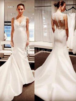 Abito da sposa con ricamo naturale semplice v-scollo lunghi elegante – Gillne.it