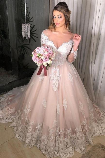 Wunderschöne Hochzeitskleider Mit Ärmel   Brautkleider A Linie Spitze