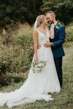Designer Hochzeitskleider mit Ärmel | Brautkleid A Linie Spitze