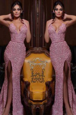 Abendkleid Lang Rosa | Abiballkleider mit Glitzer