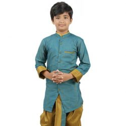 ZARI COTTON KURTA SET – SKY BLUE