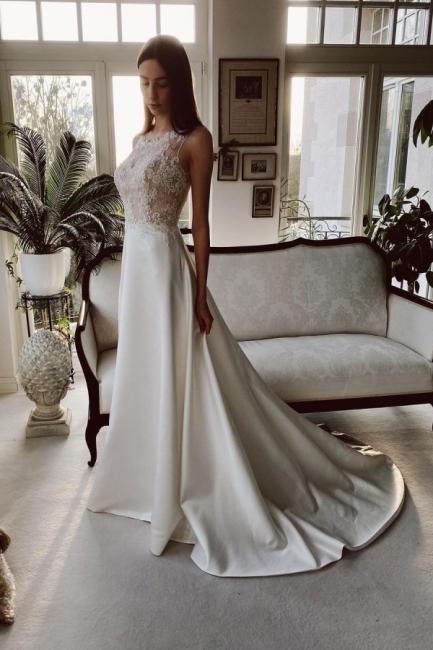 Schlichtes Hochzeitskleid Satin | Brautkleider A Linie Spitze