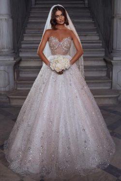 Elegante Brautkleider Glitzer | Hochzeitskleider A Linie Spitze