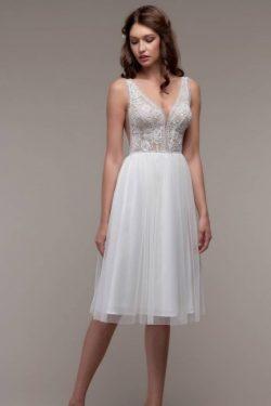 Schlichtes Hochzeitskleid Günstig | Strand Brautkleid mit Spitze