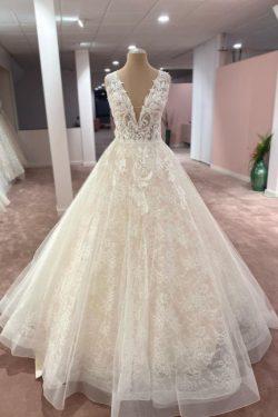 Elegante Brautkleider V Ausschnitt | Hochzeitskleider A Linie Spitze