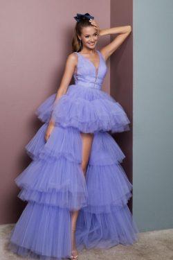 Abendkleid Lang V Ausschnitt | Abiballkleider Günstig Online